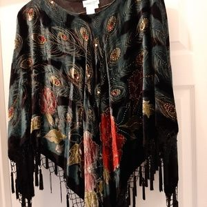A forest green and black shawl